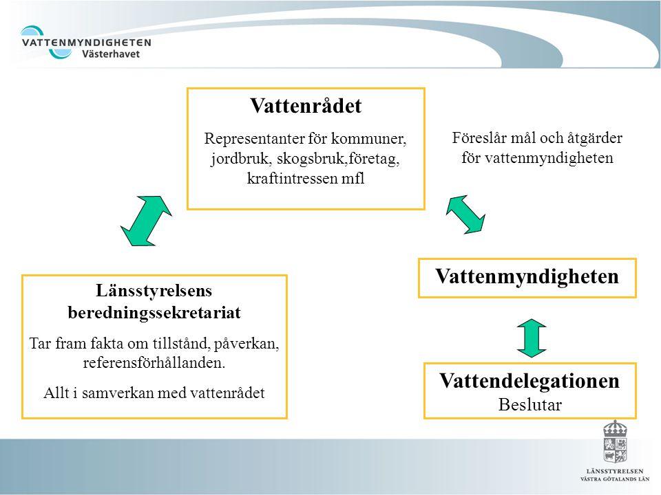 Länsstyrelsens beredningssekretariat Tar fram fakta om tillstånd, påverkan, referensförhållanden. Allt i samverkan med vattenrådet Vattenrådet Represe