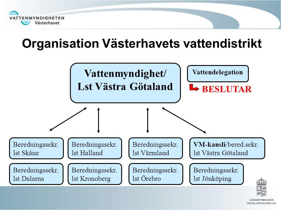 Organisation Västerhavets vattendistrikt Vattenmyndighet/ Lst Västra Götaland Beredningssekr. lst Dalarna Beredningssekr. lst Kronoberg Beredningssekr