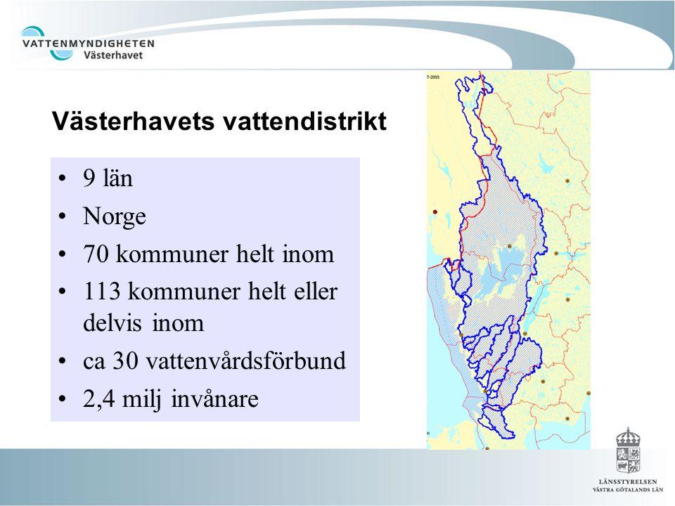 •9 län •Norge •70 kommuner helt inom •113 kommuner helt eller delvis inom •ca 30 vattenvårdsförbund •2,4 milj invånare Västerhavets vattendistrikt