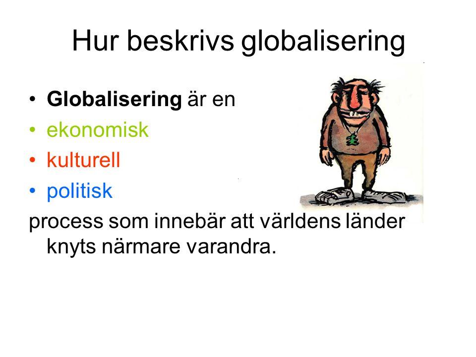 Hur beskrivs globalisering •Globalisering är en •ekonomisk •kulturell •politisk process som innebär att världens länder knyts närmare varandra.