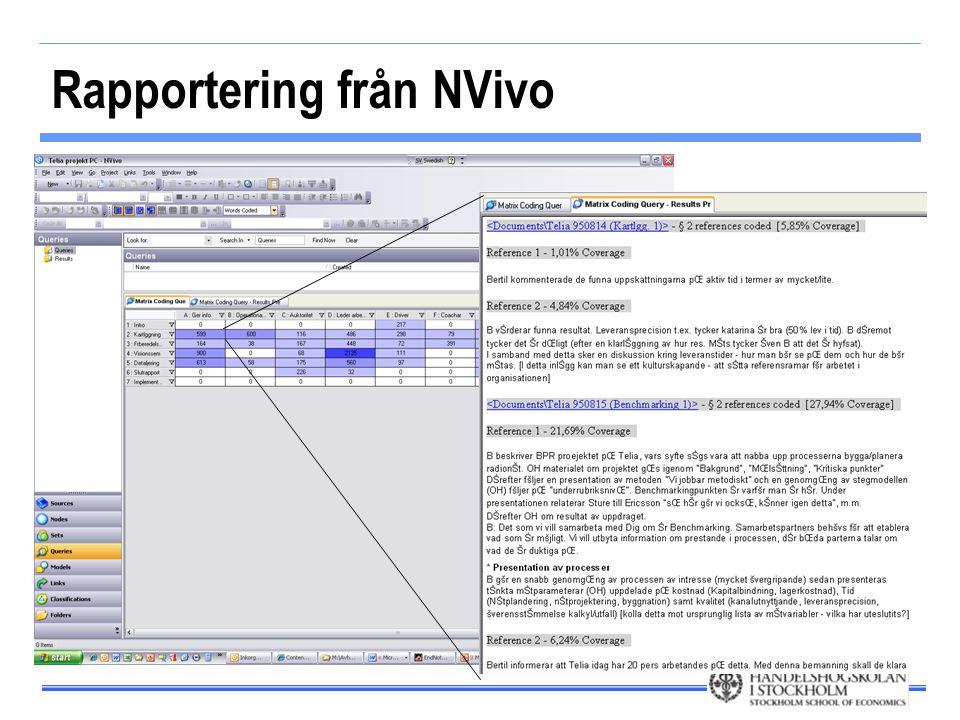 Rapportering från NVivo