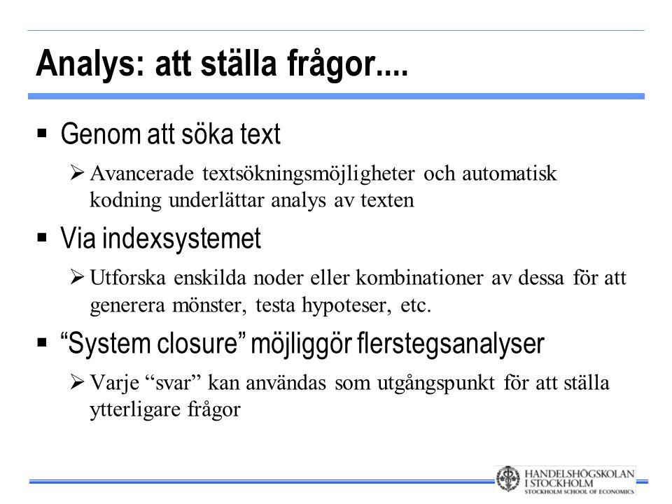 Analys: att ställa frågor....  Genom att söka text  Avancerade textsökningsmöjligheter och automatisk kodning underlättar analys av texten  Via ind