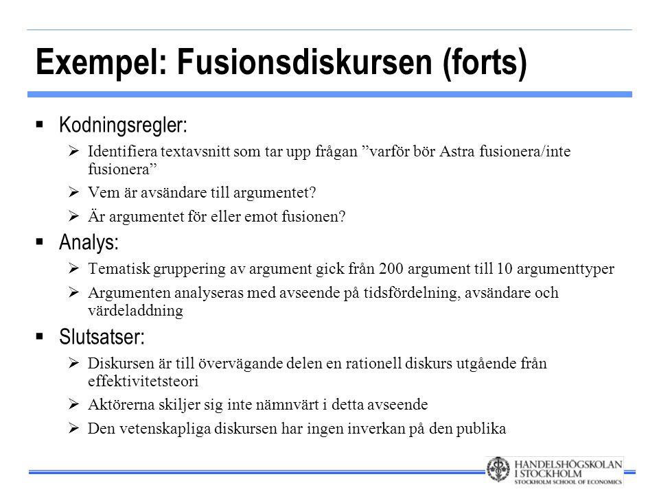 """Exempel: Fusionsdiskursen (forts)  Kodningsregler:  Identifiera textavsnitt som tar upp frågan """"varför bör Astra fusionera/inte fusionera""""  Vem är"""