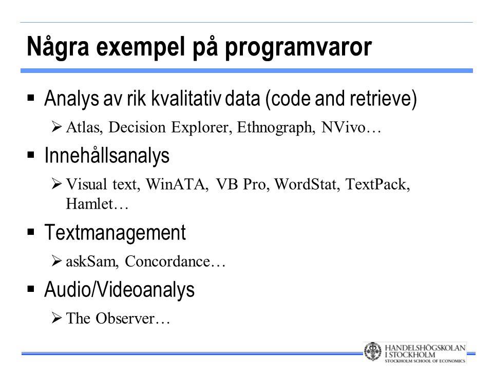 Några exempel på programvaror  Analys av rik kvalitativ data (code and retrieve)  Atlas, Decision Explorer, Ethnograph, NVivo…  Innehållsanalys  Visual text, WinATA, VB Pro, WordStat, TextPack, Hamlet…  Textmanagement  askSam, Concordance…  Audio/Videoanalys  The Observer…