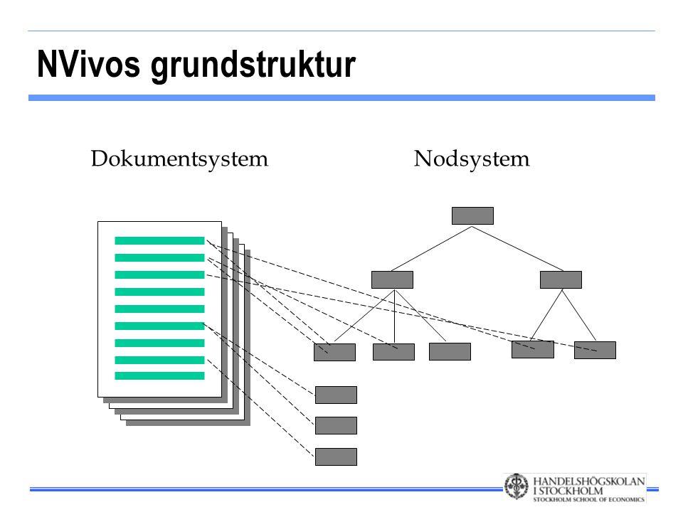 NVivos grundstruktur DokumentsystemNodsystem