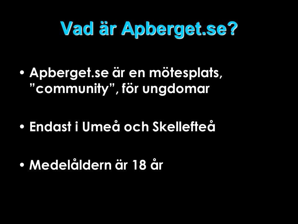 """Vad är Apberget.se? • Apberget.se är en mötesplats, """"community"""", för ungdomar • Endast i Umeå och Skellefteå • Medelåldern är 18 år"""