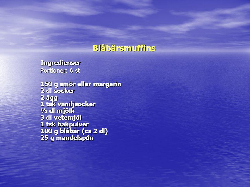 Blåbärsmuffins Ingredienser Portioner: 6 st 150 g smör eller margarin 2 dl socker 2 ägg 1 tsk vaniljsocker ½ dl mjölk 3 dl vetemjöl 1 tsk bakpulver 10