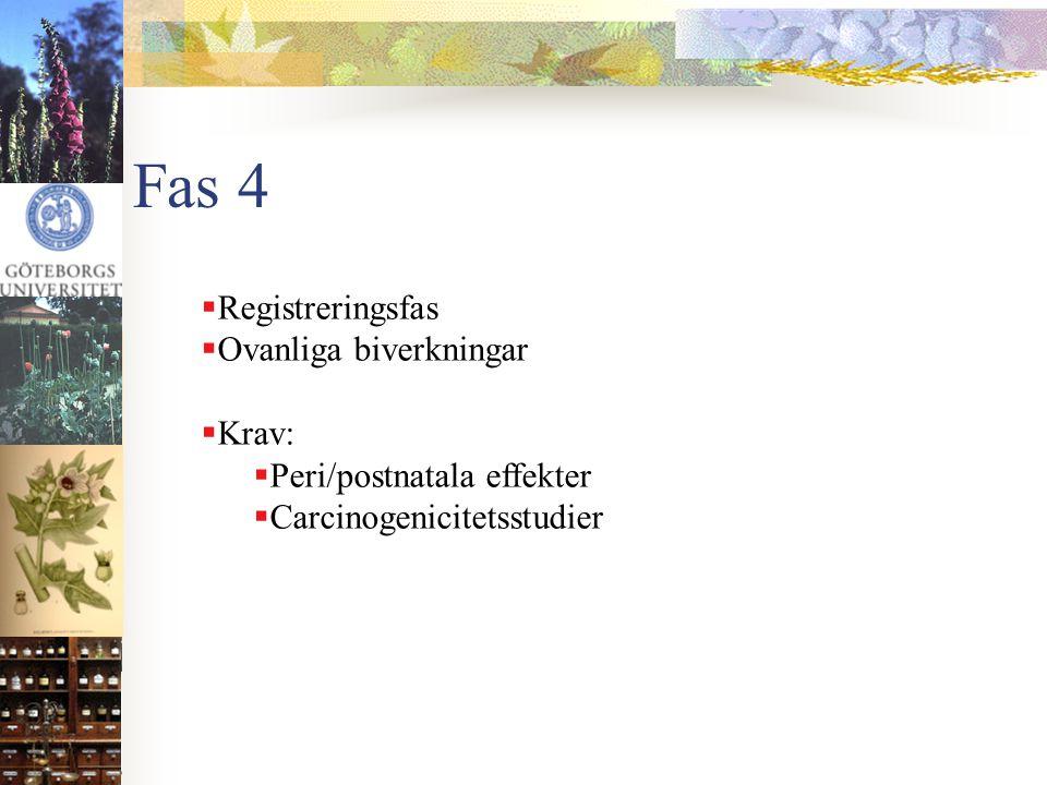 Fas 4  Registreringsfas  Ovanliga biverkningar  Krav:  Peri/postnatala effekter  Carcinogenicitetsstudier