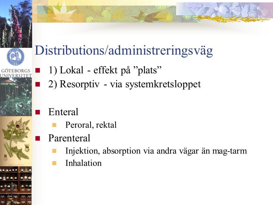 """Distributions/administreringsväg  1) Lokal - effekt på """"plats""""  2) Resorptiv - via systemkretsloppet  Enteral  Peroral, rektal  Parenteral  Inje"""