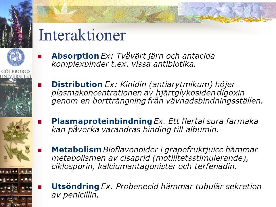 Interaktioner  Absorption Ex: Tvåvärt järn och antacida komplexbinder t.ex. vissa antibiotika.  Distribution Ex: Kinidin (antiarytmikum) höjer plasm
