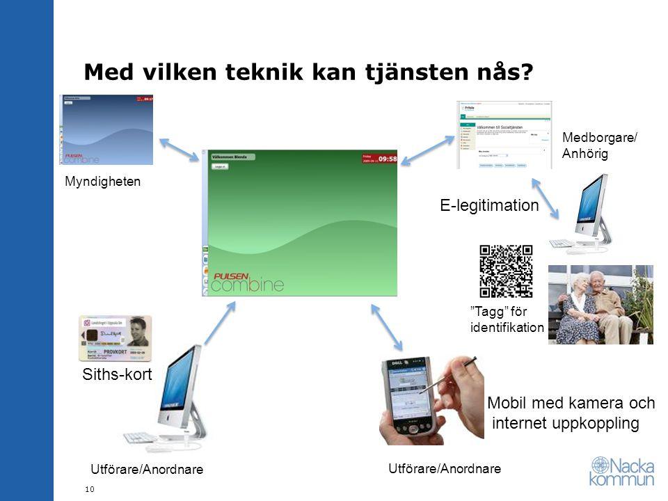 """Med vilken teknik kan tjänsten nås? E-legitimation Utförare/Anordnare Medborgare/ Anhörig 10 Siths-kort Mobil med kamera och internet uppkoppling """"Tag"""