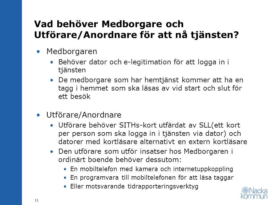 Vad behöver Medborgare och Utförare/Anordnare för att nå tjänsten? •Medborgaren •Behöver dator och e-legitimation för att logga in i tjänsten •De medb
