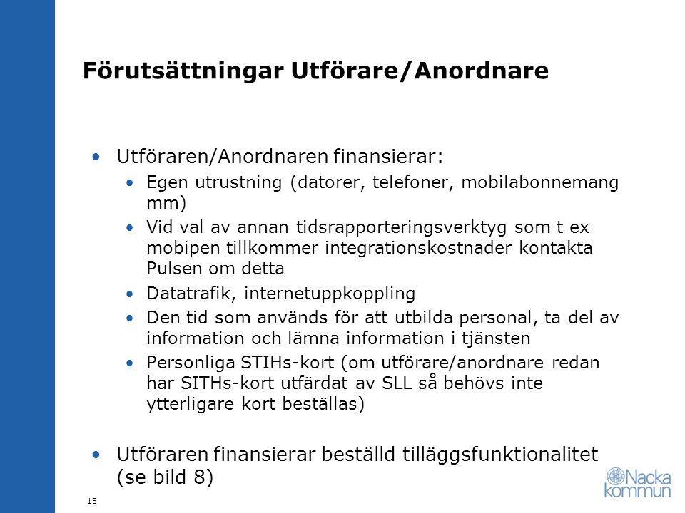 Förutsättningar Utförare/Anordnare •Utföraren/Anordnaren finansierar: •Egen utrustning (datorer, telefoner, mobilabonnemang mm) •Vid val av annan tids