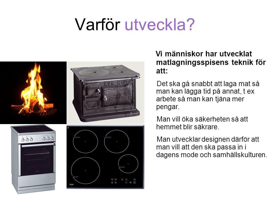 Varför utveckla? Vi människor har utvecklat matlagningsspisens teknik för att: Det ska gå snabbt att laga mat så man kan lägga tid på annat, t ex arbe