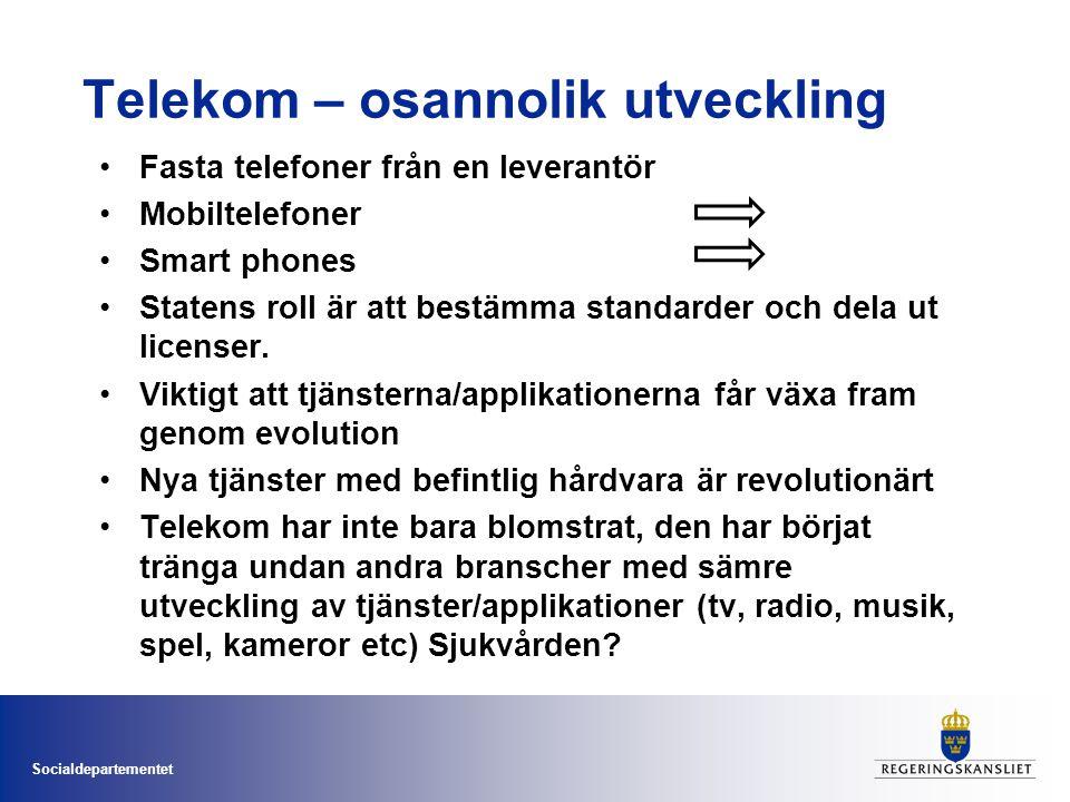 Socialdepartementet Telekom – osannolik utveckling •Fasta telefoner från en leverantör •Mobiltelefoner •Smart phones •Statens roll är att bestämma standarder och dela ut licenser.