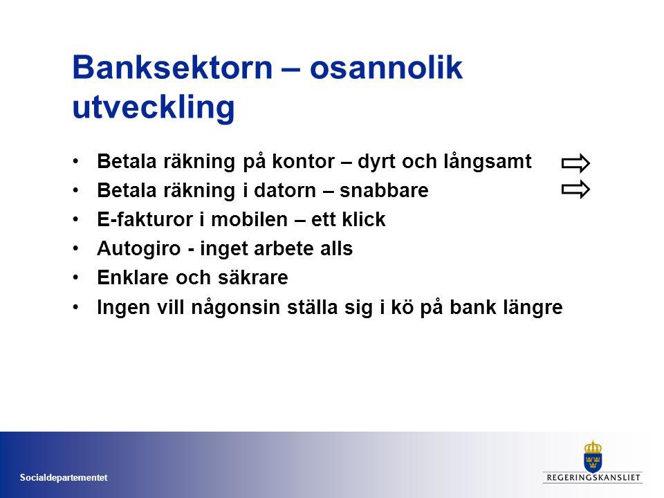 Socialdepartementet Banksektorn – osannolik utveckling •Betala räkning på kontor – dyrt och långsamt •Betala räkning i datorn – snabbare •E-fakturor i