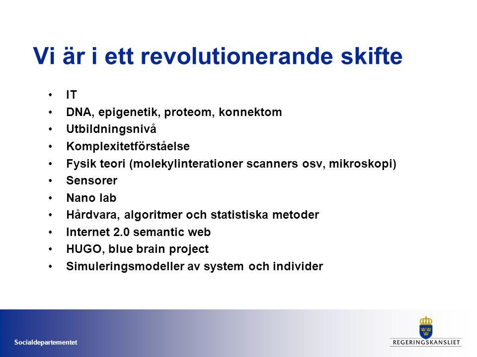 Socialdepartementet Vi är i ett revolutionerande skifte •IT •DNA, epigenetik, proteom, konnektom •Utbildningsnivå •Komplexitetförståelse •Fysik teori (molekylinterationer scanners osv, mikroskopi) •Sensorer •Nano lab •Hårdvara, algoritmer och statistiska metoder •Internet 2.0 semantic web •HUGO, blue brain project •Simuleringsmodeller av system och individer