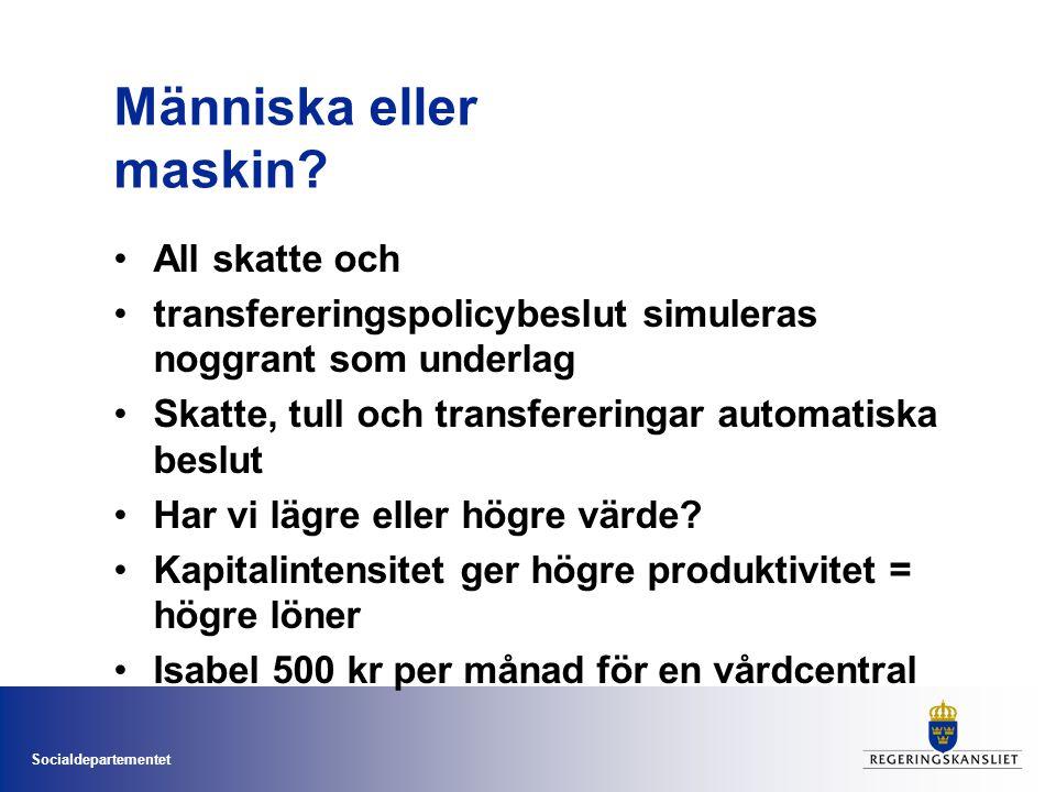 Socialdepartementet Människa eller maskin? •All skatte och •transfereringspolicybeslut simuleras noggrant som underlag •Skatte, tull och transferering
