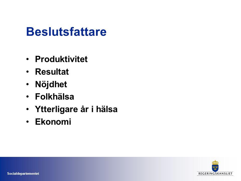 Socialdepartementet Beslutsfattare •Produktivitet •Resultat •Nöjdhet •Folkhälsa •Ytterligare år i hälsa •Ekonomi