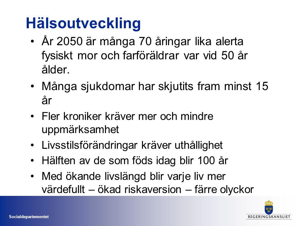 Socialdepartementet Hälsoutveckling • År 2050 är många 70 åringar lika alerta fysiskt mor och farföräldrar var vid 50 år ålder. • Många sjukdomar har