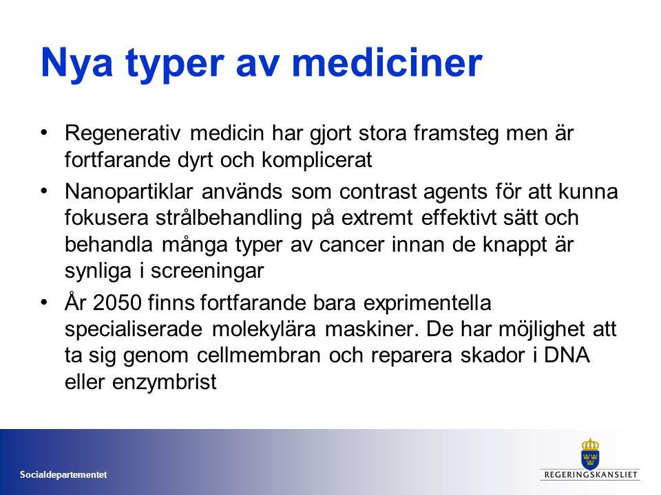 Socialdepartementet Nya typer av mediciner • Regenerativ medicin har gjort stora framsteg men är fortfarande dyrt och komplicerat • Nanopartiklar anvä