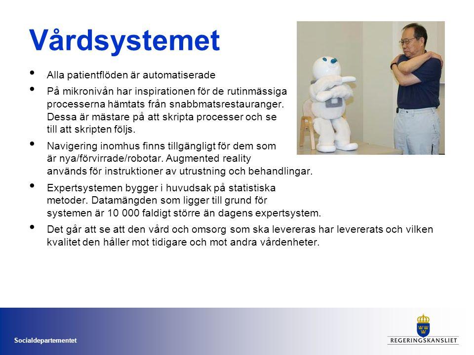 Socialdepartementet Vårdsystemet • Alla patientflöden är automatiserade • På mikronivån har inspirationen för de rutinmässiga processerna hämtats från snabbmatsrestauranger.