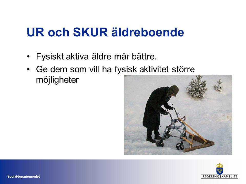 Socialdepartementet UR och SKUR äldreboende •Fysiskt aktiva äldre mår bättre.
