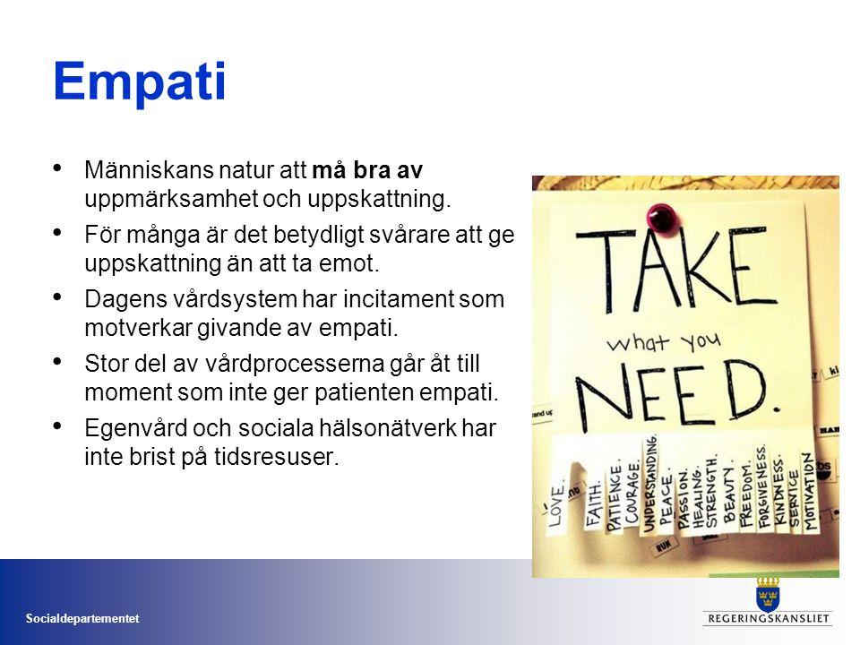 Socialdepartementet Empati • Människans natur att må bra av uppmärksamhet och uppskattning.