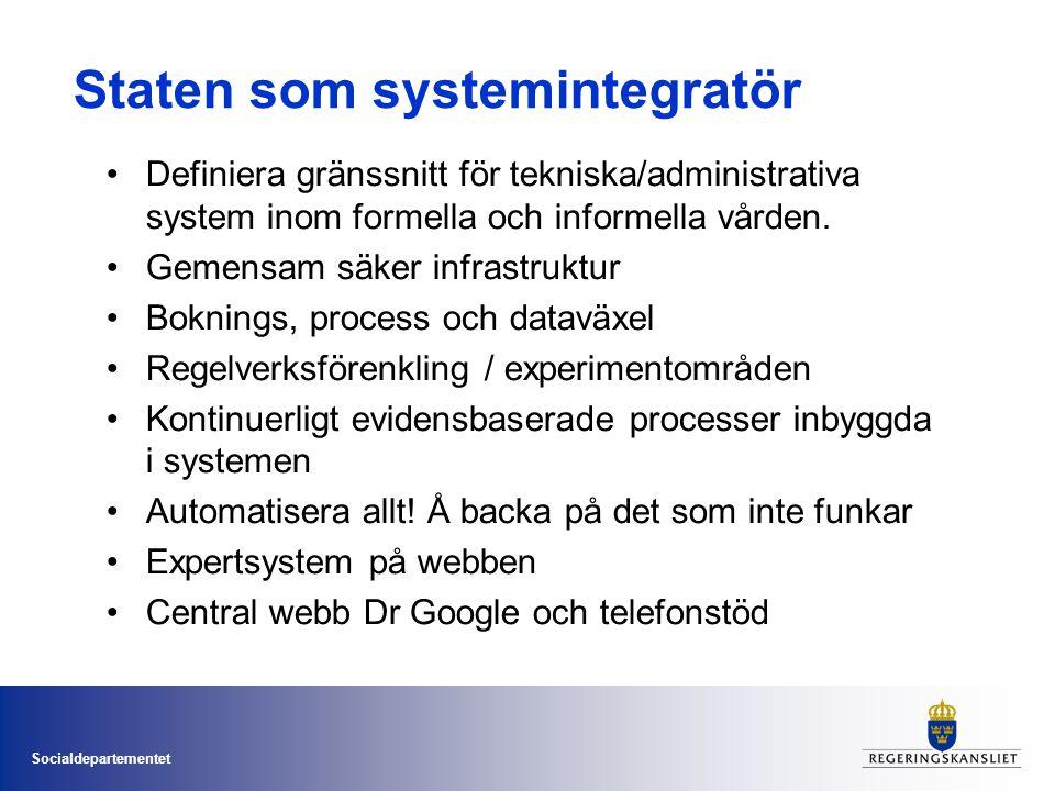 Socialdepartementet Staten som systemintegratör •Definiera gränssnitt för tekniska/administrativa system inom formella och informella vården.