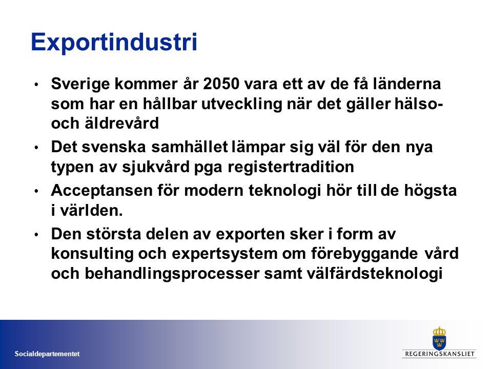 Socialdepartementet Exportindustri • Sverige kommer år 2050 vara ett av de få länderna som har en hållbar utveckling när det gäller hälso- och äldrevård • Det svenska samhället lämpar sig väl för den nya typen av sjukvård pga registertradition • Acceptansen för modern teknologi hör till de högsta i världen.