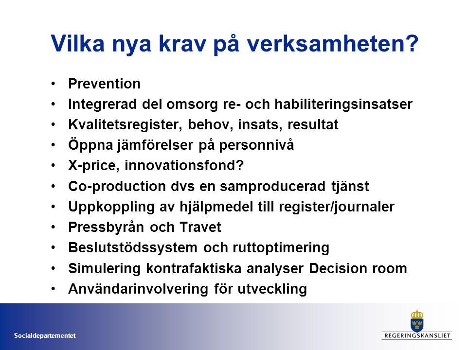 Socialdepartementet Vilka nya krav på verksamheten? •Prevention •Integrerad del omsorg re- och habiliteringsinsatser •Kvalitetsregister, behov, insats