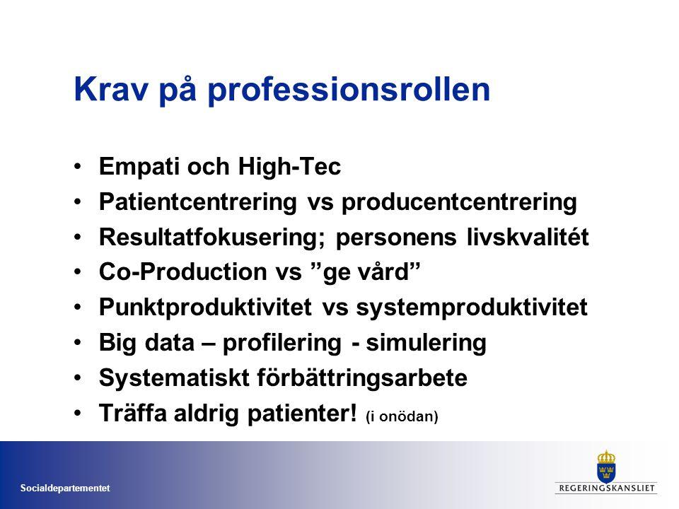 Socialdepartementet Krav på professionsrollen •Empati och High-Tec •Patientcentrering vs producentcentrering •Resultatfokusering; personens livskvalit