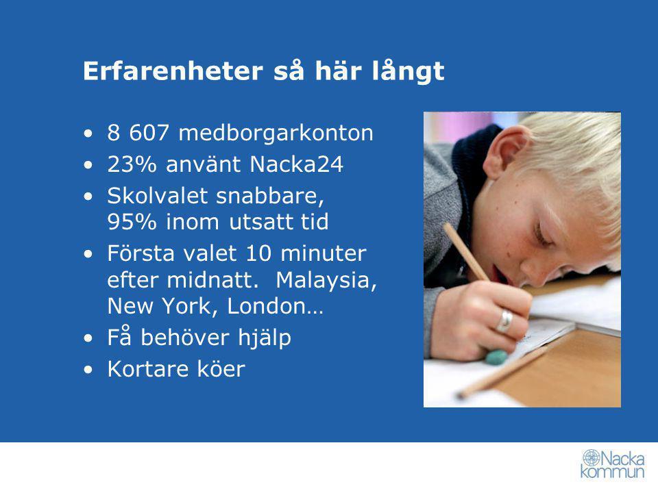 Erfarenheter så här långt •8 607 medborgarkonton •23% använt Nacka24 •Skolvalet snabbare, 95% inom utsatt tid •Första valet 10 minuter efter midnatt.