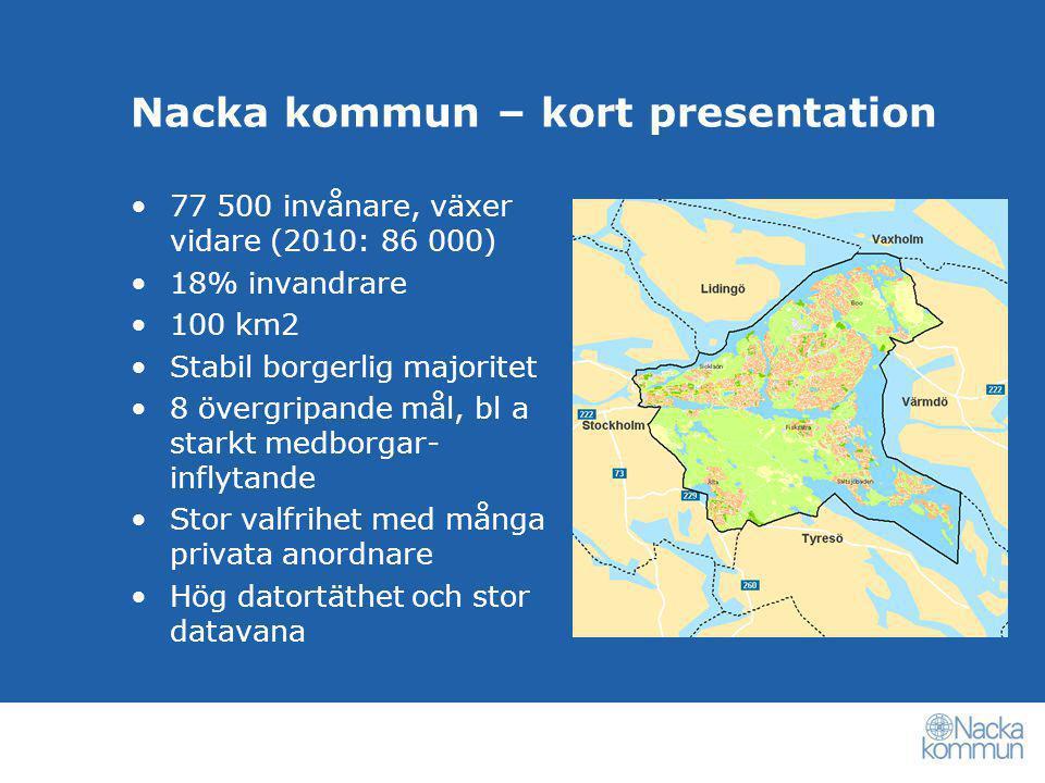 Nacka kommun – kort presentation •77 500 invånare, växer vidare (2010: 86 000) •18% invandrare •100 km2 •Stabil borgerlig majoritet •8 övergripande må