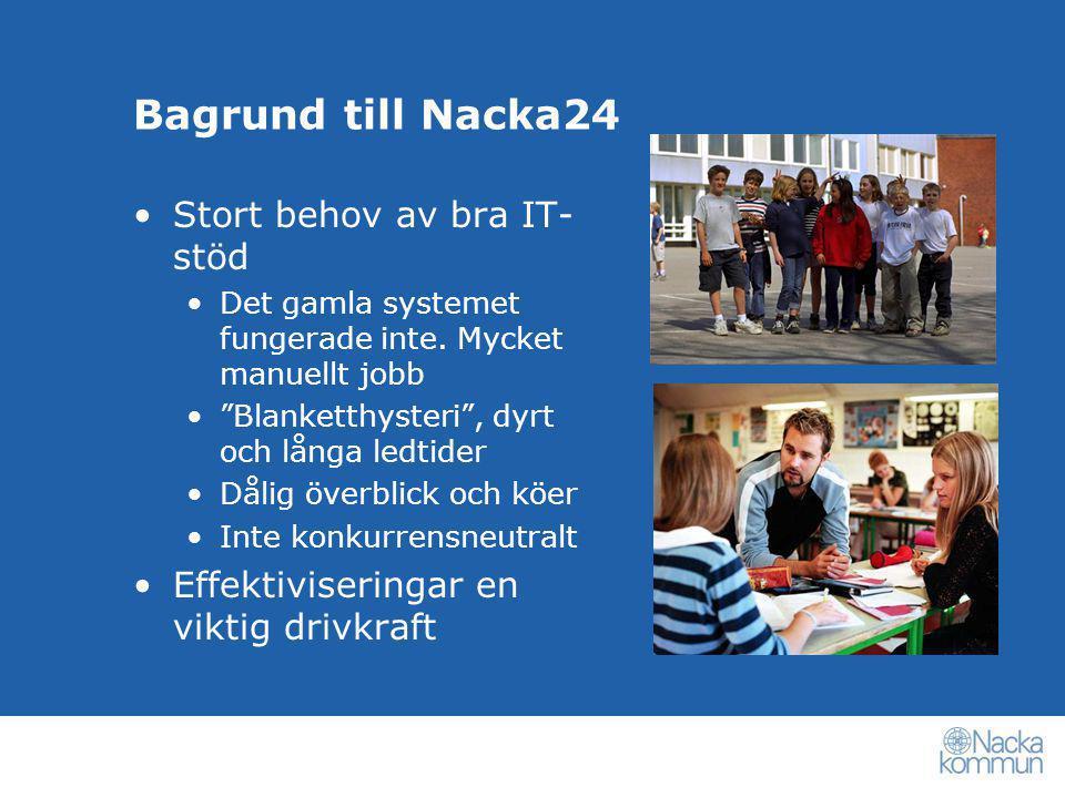 """Bagrund till Nacka24 •Stort behov av bra IT- stöd •Det gamla systemet fungerade inte. Mycket manuellt jobb •""""Blanketthysteri"""", dyrt och långa ledtider"""