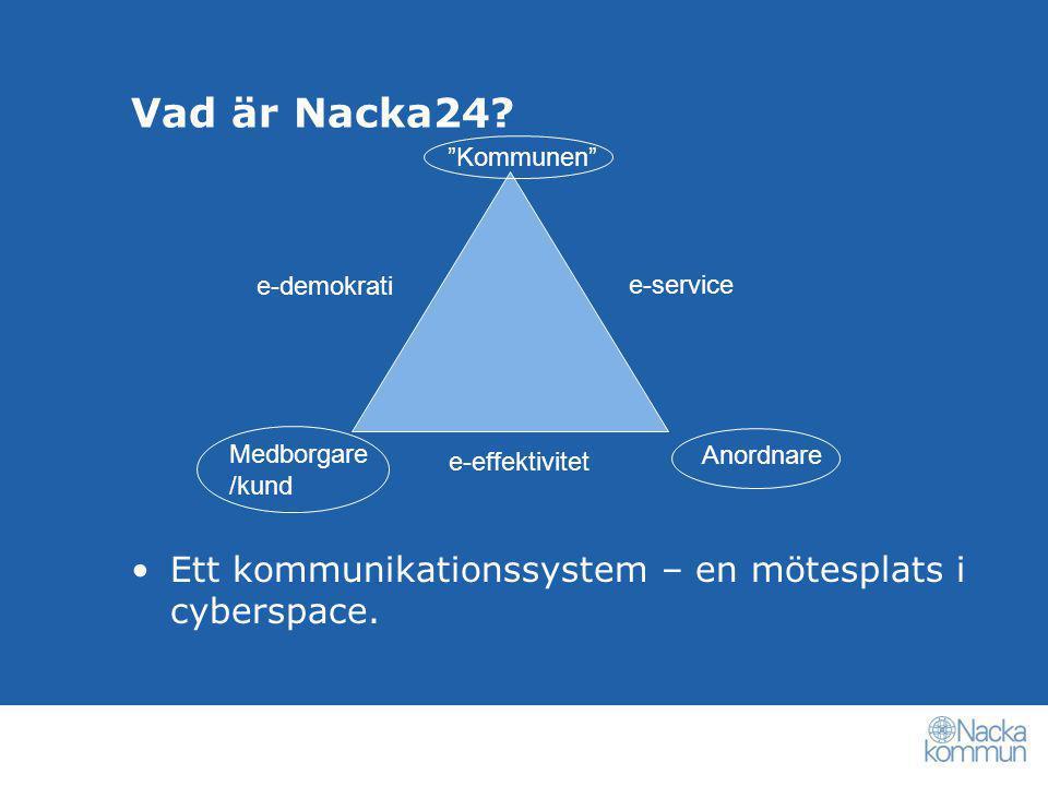 Vad är Nacka24, forts •Kundvalen via internet i skola och barnomsorg sedan 2003 •Ett virtuellt elevregister, alltid aktuellt •Finansiering av verksamheten (check och peng) •Samlad och offensiv information •Inga blanketter – föräldrarna gör jobbet •Medborgarkonto – Bank-ID •Öppen plattform, inget verksamhetssystem