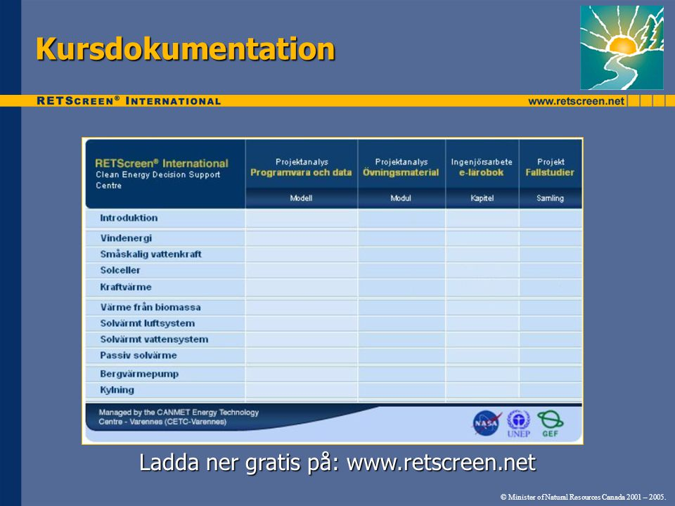 Ladda ner gratis på: www.retscreen.net © Minister of Natural Resources Canada 2001 – 2005.