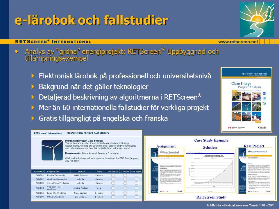 """• Analys av """"gröna"""" energiprojekt: RETScreen ® Uppbyggnad och tillämpningsexempel  Elektronisk lärobok på professionell och universitetsnivå  Bakgru"""