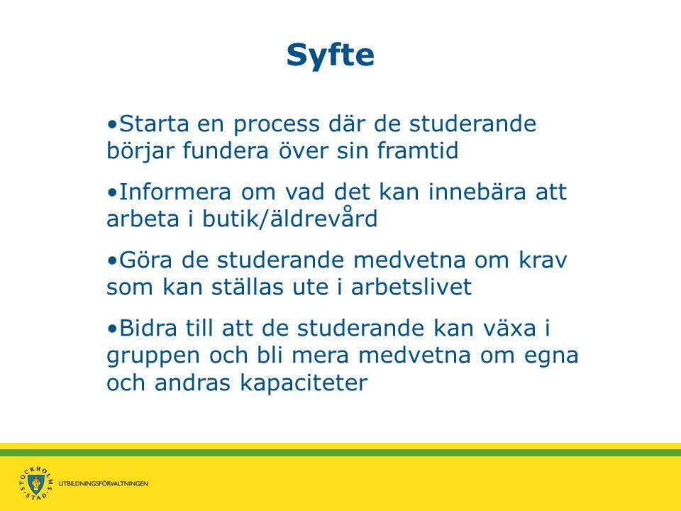 Syfte •Starta en process där de studerande börjar fundera över sin framtid •Informera om vad det kan innebära att arbeta i butik/äldrevård •Göra de st