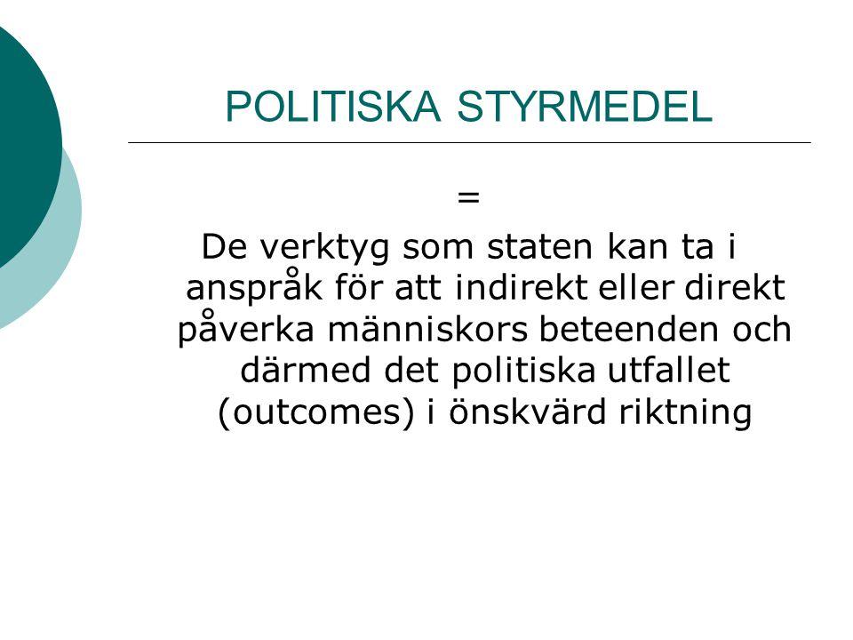 POLITISKA STYRMEDEL = De verktyg som staten kan ta i anspråk för att indirekt eller direkt påverka människors beteenden och därmed det politiska utfal