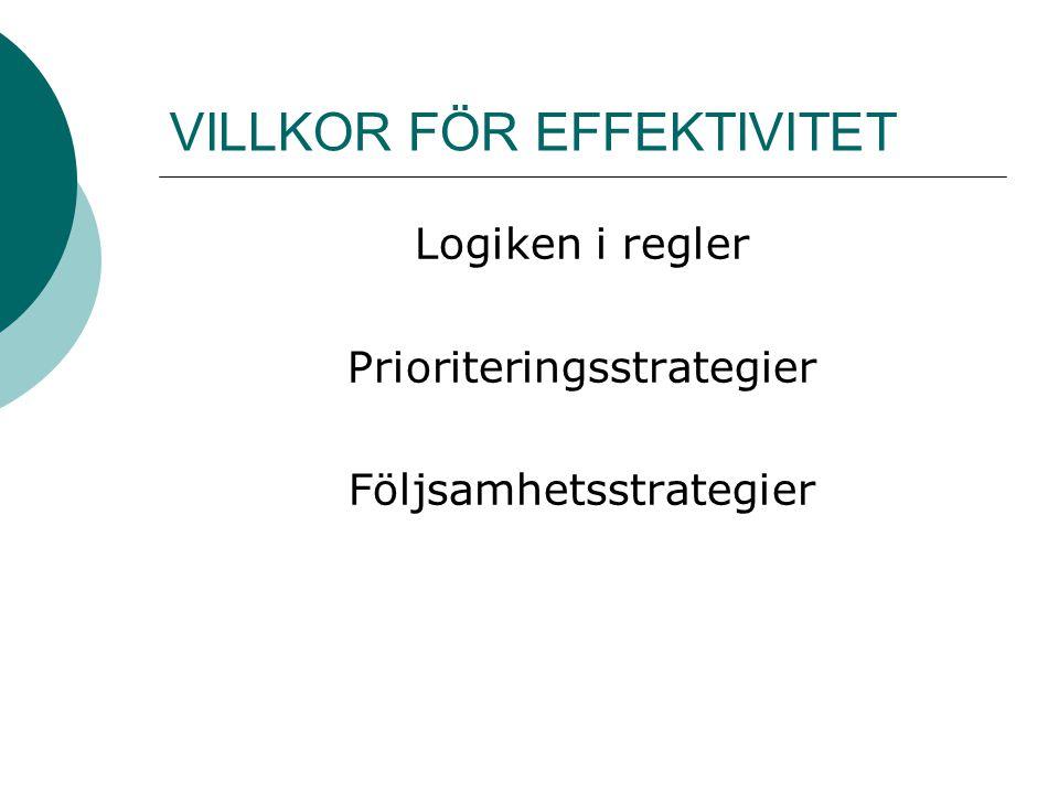 VILLKOR FÖR EFFEKTIVITET Logiken i regler Prioriteringsstrategier Följsamhetsstrategier