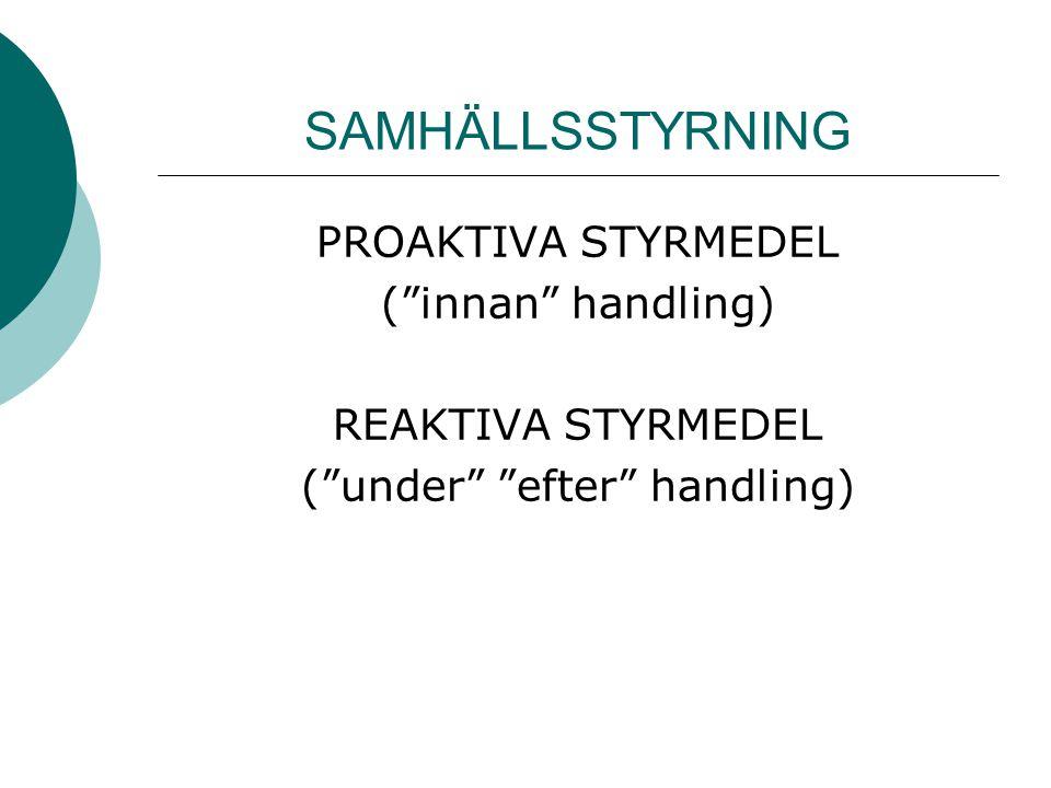 """SAMHÄLLSSTYRNING PROAKTIVA STYRMEDEL (""""innan"""" handling) REAKTIVA STYRMEDEL (""""under"""" """"efter"""" handling)"""