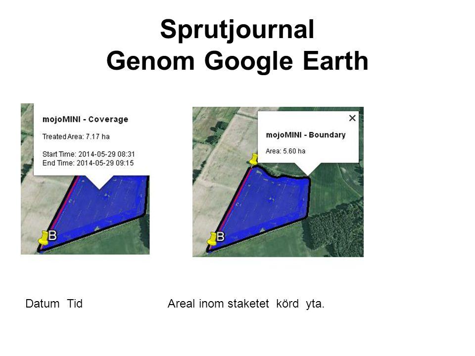 Sprutjournal Genom Google Earth Datum TidAreal inom staketet körd yta.