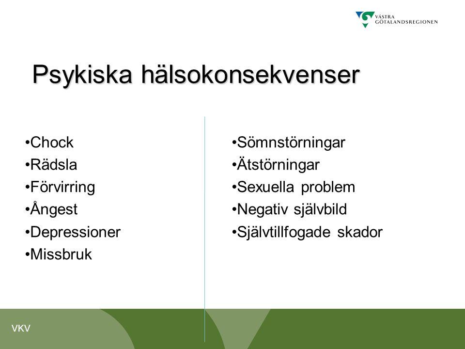 VKV Psykiska hälsokonsekvenser •Chock •Rädsla •Förvirring •Ångest •Depressioner •Missbruk •Sömnstörningar •Ätstörningar •Sexuella problem •Negativ sjä