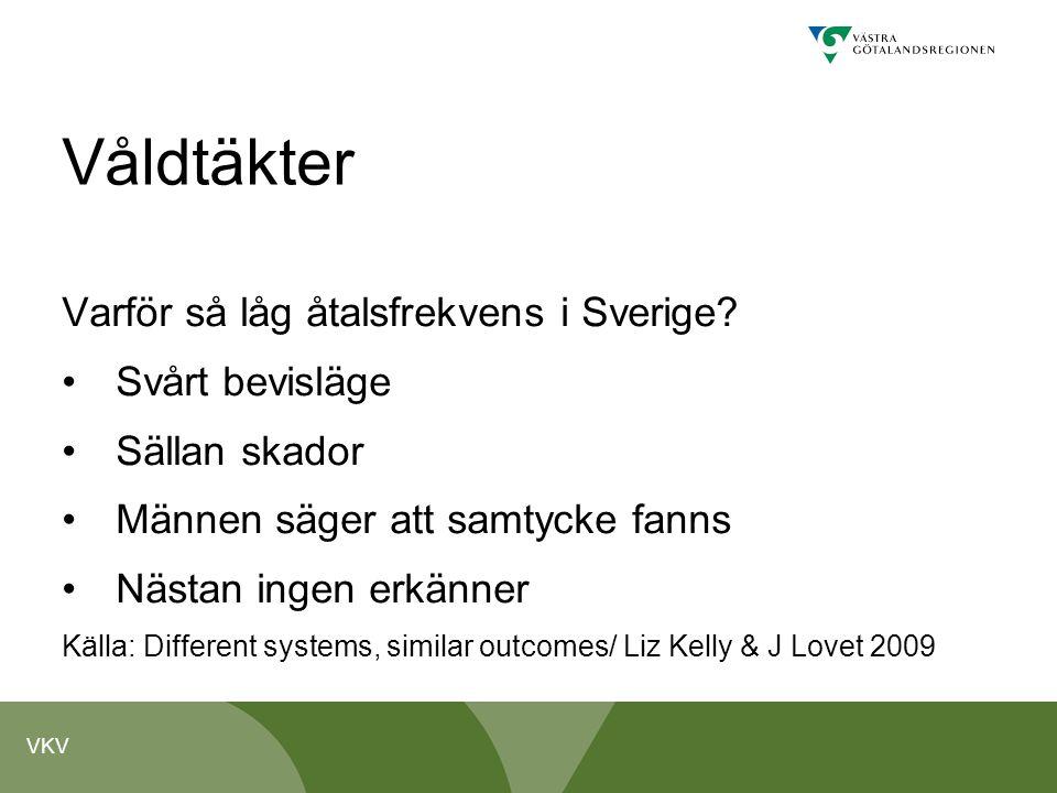 VKV Våldtäkter Varför så låg åtalsfrekvens i Sverige? • Svårt bevisläge • Sällan skador • Männen säger att samtycke fanns • Nästan ingen erkänner Käll