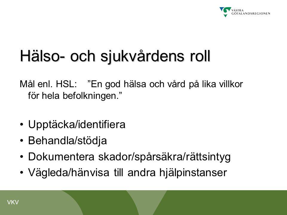 """VKV Hälso- och sjukvårdens roll Mål enl. HSL: """"En god hälsa och vård på lika villkor för hela befolkningen."""" •Upptäcka/identifiera •Behandla/stödja •D"""