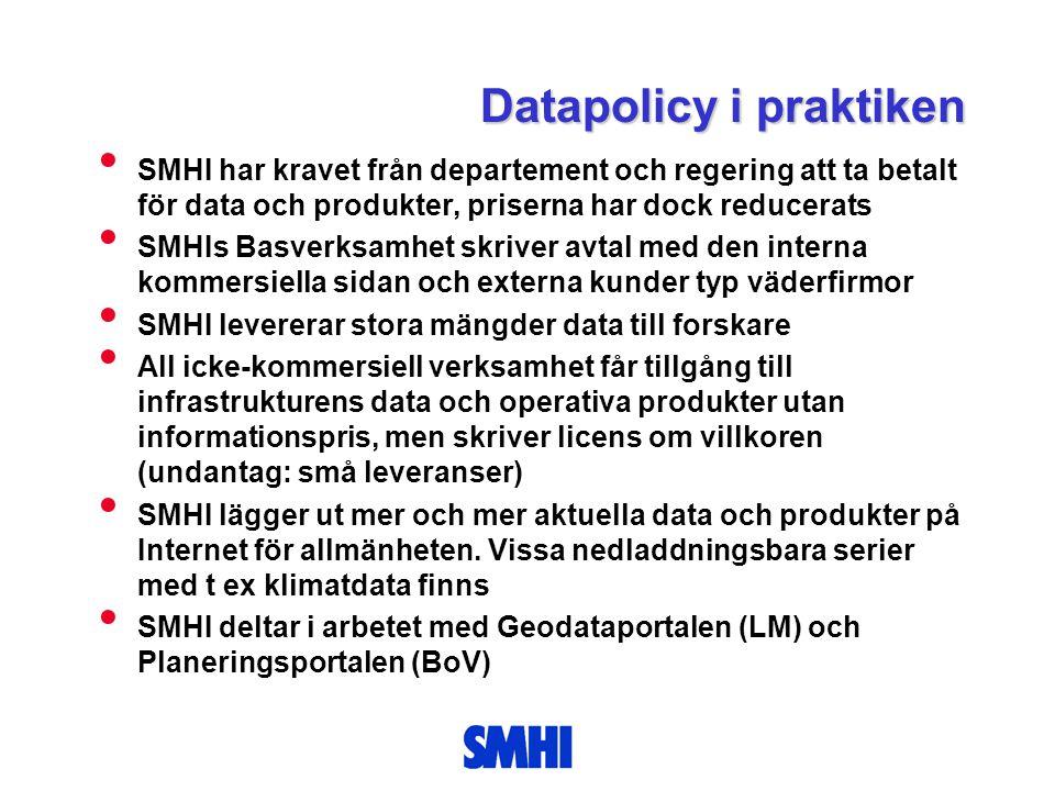 Datapolicy i praktiken • SMHI har kravet från departement och regering att ta betalt för data och produkter, priserna har dock reducerats • SMHIs Basv
