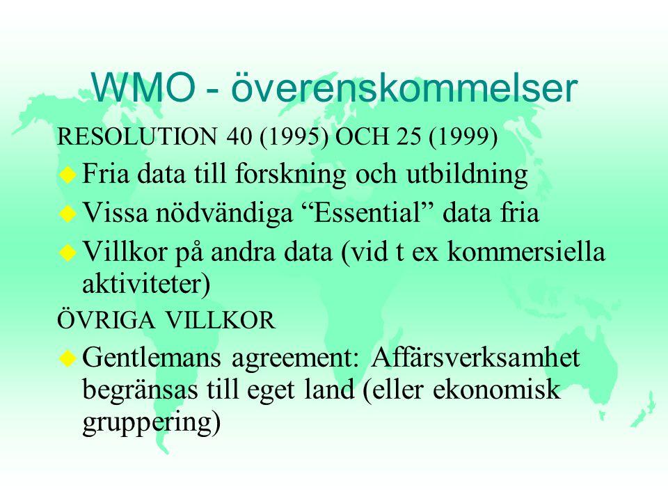 """WMO - överenskommelser RESOLUTION 40 (1995) OCH 25 (1999) u Fria data till forskning och utbildning u Vissa nödvändiga """"Essential"""" data fria u Villkor"""
