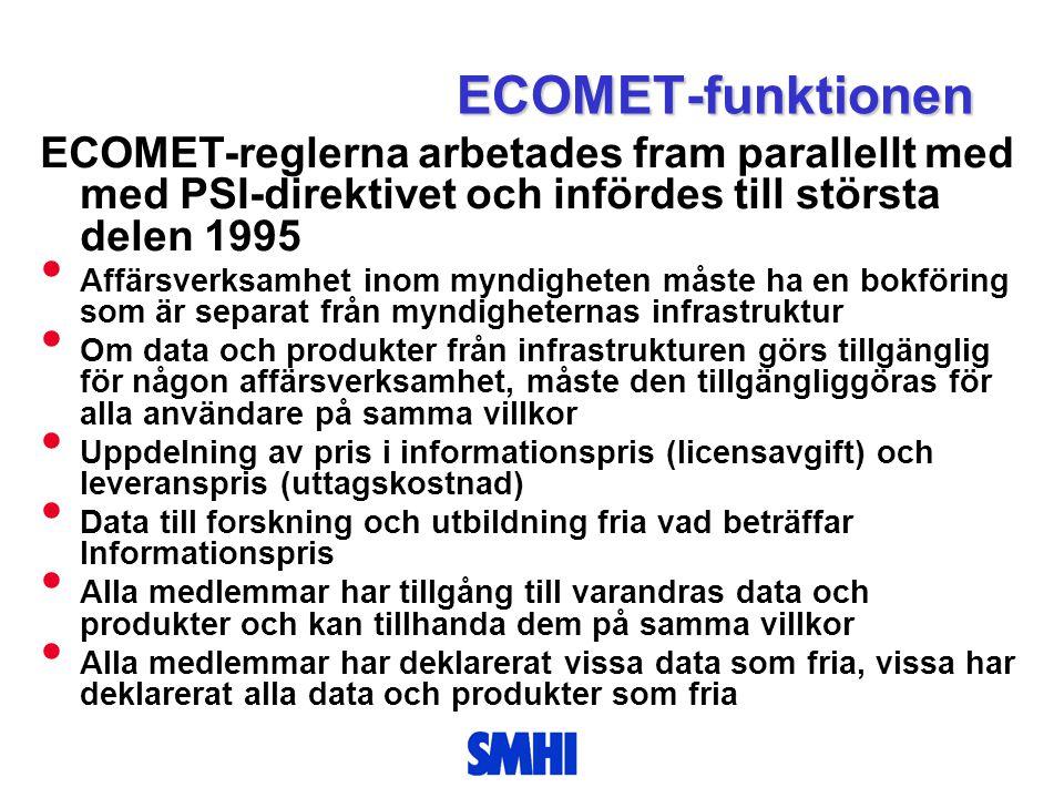 ECOMET-funktionen ECOMET-reglerna arbetades fram parallellt med med PSI-direktivet och infördes till största delen 1995 • Affärsverksamhet inom myndig