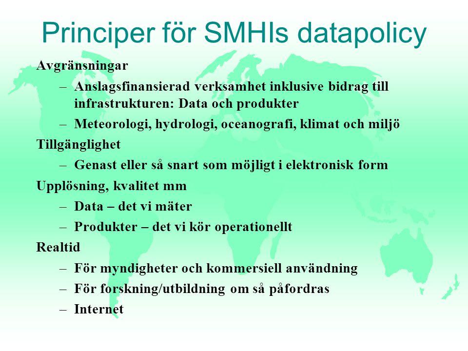 Principer för SMHIs datapolicy Avgränsningar –Anslagsfinansierad verksamhet inklusive bidrag till infrastrukturen: Data och produkter –Meteorologi, hy